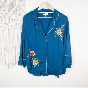 Anthro • Floreat Floral Embroidered Pajama Top